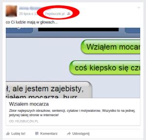 Spamowy wpis na facebooku